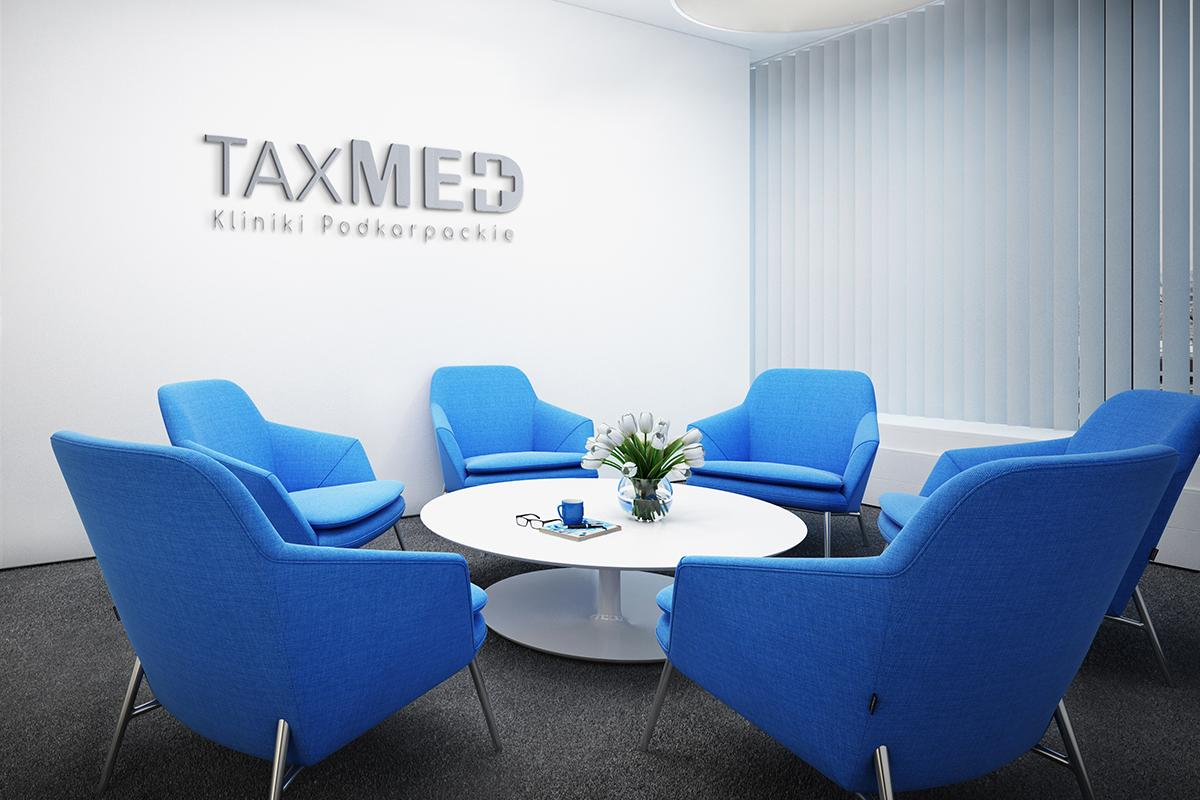 Twoeznie logotypu TaxMed - Medycyna - Biuro - Viatas Design Studio